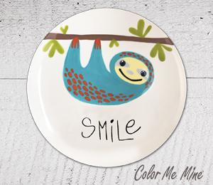 Porter Ranch Sloth Smile Plate