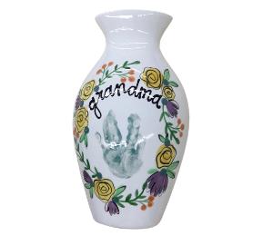 Porter Ranch Floral Handprint Vase